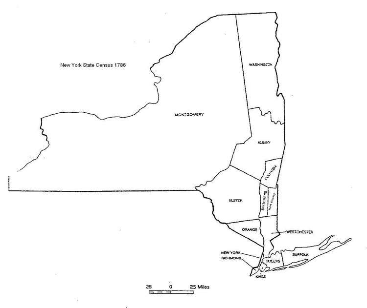 New York State Census Map 1786